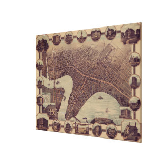 ウィニペグカナダ(1884年)のヴィンテージの絵解き地図 キャンバスプリント