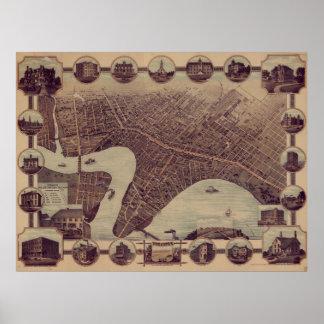 ウィニペグカナダ(1884年)のヴィンテージの絵解き地図 ポスター