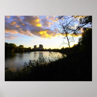 ウィニペグポスターの夕べの眺め ポスター