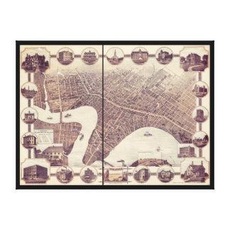 ウィニペグマニトバカナダの鳥瞰的な眺めの地図1884年 キャンバスプリント