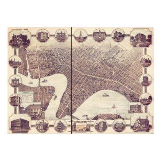 ウィニペグマニトバカナダの鳥瞰的な眺めの地図1884年 フォトプリント