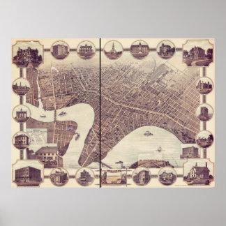ウィニペグマニトバカナダの鳥瞰的な眺めの地図1884年 ポスター