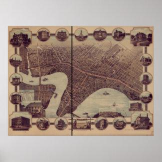 ウィニペグマニトバ1884の旧式なパノラマ式の地図 ポスター