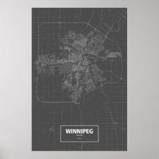 ウィニペグ、マニトバ(黒で白い) ポスター