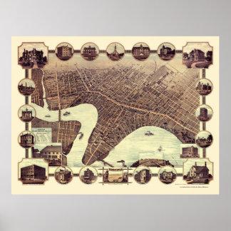 ウィニペグ、MBのカナダのパノラマ式の地図- 1884年 ポスター