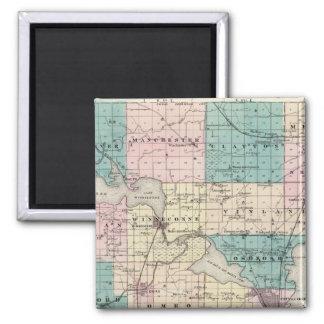 ウィネベーゴ郡、ウィスコンシンの州の地図 マグネット