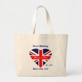 ウィリアムおよびKateまたは結婚式連合ジャックのハート ラージトートバッグ