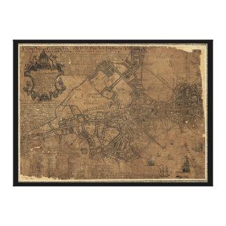 ウィリアムの価格1743年によるボストン地図のYeの素晴らしい町 キャンバスプリント