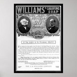 ウィリアムスの剃る石鹸の広告1901年 ポスター