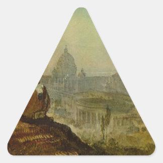 ウィリアムターナー著南からのセントピーター 三角形シール