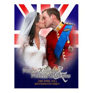 ウィリアム及びKateの王室のな結婚式のキスの郵便はがき ポストカード