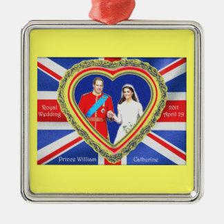 ウィリアム王子およびキャサリンの王室のな結婚式 メタルオーナメント