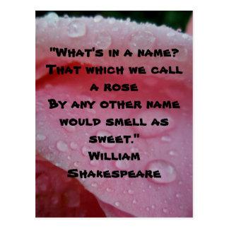 ウィリアム・シェイクスピアのバラの引用文のピンクの郵便はがき ポストカード