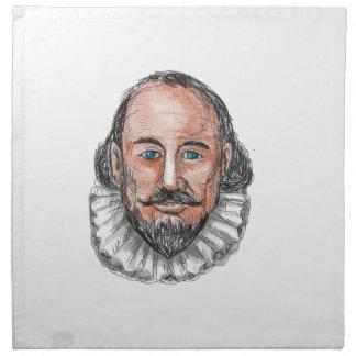 ウィリアム・シェイクスピアのヘッド水彩画 ナプキンクロス