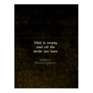 ウィリアム・シェイクスピアのユーモアのあるな機知に富んだ引用語句 ポストカード