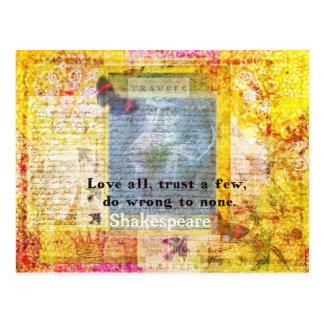 ウィリアム・シェイクスピアの引用文愛すべて ポストカード