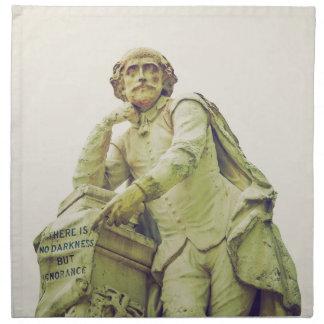 ウィリアム・シェイクスピアの彫像を見るヴィンテージ ナプキンクロス