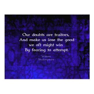 ウィリアム・シェイクスピアの感動的な勇気の引用文 ポストカード