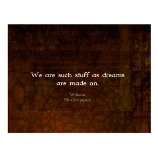 ウィリアム・シェイクスピアの感動的な夢の引用文 ポストカード