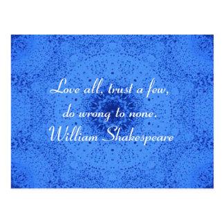 ウィリアム・シェイクスピアの知恵の引用語句の発言 ポストカード