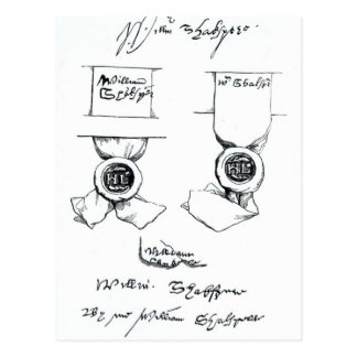 ウィリアム・シェイクスピアの署名のファクシミリ ポストカード