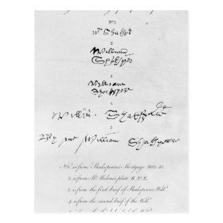 ウィリアム・シェイクスピアの5つの本物のサイン ポストカード