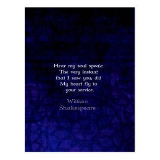 ウィリアム・シェイクスピアロマンチックな愛引用文 ポストカード
