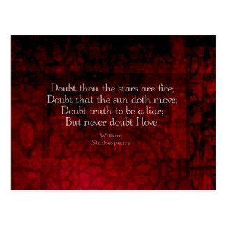 ウィリアム・シェイクスピア有名な愛引用文 ポストカード