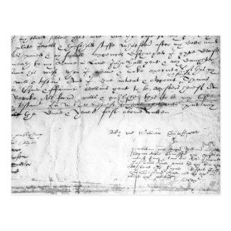 ウィリアム・シェイクスピア1616年の署名 ポストカード
