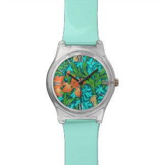 ウィリアム・モリスのアイリス、オレンジおよびターコイズ 腕時計