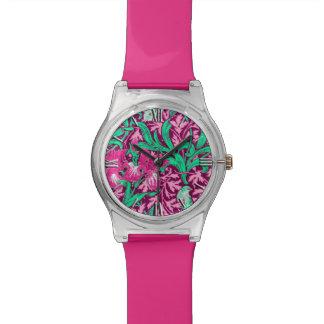 ウィリアム・モリスのアイリス、赤紫のピンクおよびワイン 腕時計