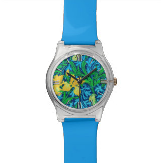 ウィリアム・モリスのアイリス、黄色およびコバルトブルー 腕時計