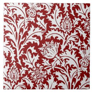 ウィリアム・モリスのアザミのダマスク織、えんじ色及び白い タイル