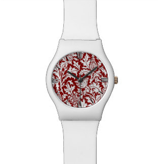 ウィリアム・モリスのアザミのダマスク織、えんじ色及び白い 腕時計