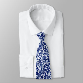 ウィリアム・モリスのアザミのダマスク織、コバルトブルー及び白 オリジナルネクタイ