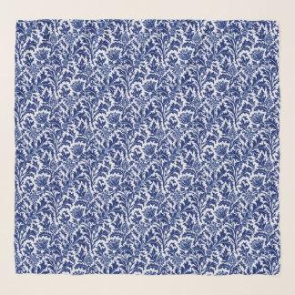 ウィリアム・モリスのアザミのダマスク織、コバルトブルー及び白 スカーフ