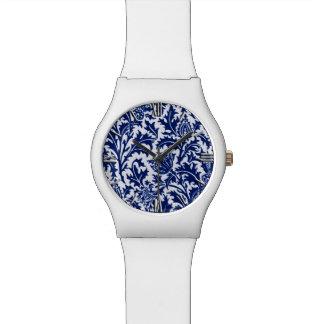 ウィリアム・モリスのアザミのダマスク織、コバルトブルー及び白 腕時計