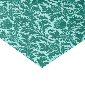 ウィリアム・モリスのアザミのダマスク織、ターコイズおよび水 薄葉紙