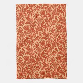 ウィリアム・モリスのアザミのダマスク織、マンダリンオレンジ キッチンタオル