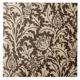 ウィリアム・モリスのアザミのダマスク織、暗灰色タン及びベージュ色 タイル