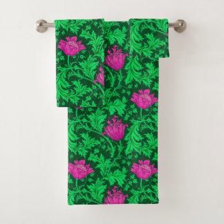 ウィリアム・モリスのアネモネ、エメラルドグリーンおよび明るい赤紫色 バスタオルセット