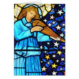 ウィリアム・モリスのステンドグラスの天使のデザイン カード