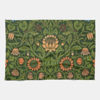 ウィリアム・モリスのタペストリーの敷物の赤い緑のカーペットのアジア人 キッチンタオル