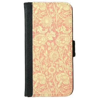 ウィリアム・モリスのピンクおよびバラのデザイン iPhone 6/6S ウォレットケース