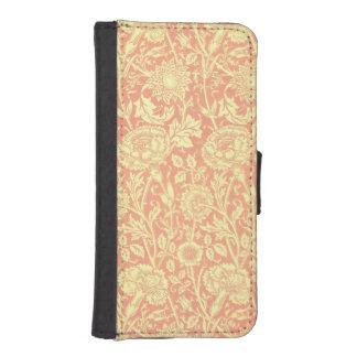 ウィリアム・モリスのピンクおよびバラのデザイン iPhoneSE/5/5sウォレットケース