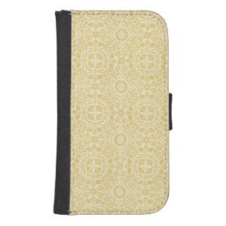 ウィリアム・モリスのベージュ色花パターンウォレットケース 財布型Galaxy S4ケース