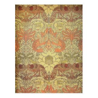 ウィリアム・モリスの孔雀およびドラゴンパターン ポストカード