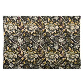 ウィリアム・モリスの暗い花のアラベスク ランチョンマット