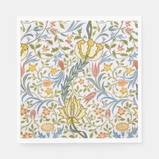 ウィリアム・モリスの植物相のヴィンテージの花柄アールヌーボー スタンダードランチョンナプキン