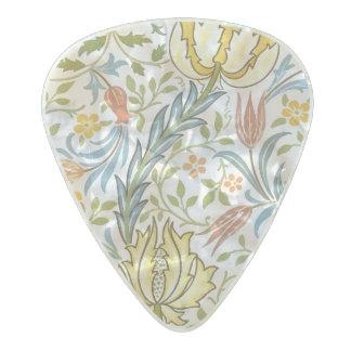 ウィリアム・モリスの植物相のヴィンテージの花柄アールヌーボー パールセルロイド ギターピック